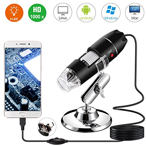 Bysameyee Microscopio Digitale, USB 2.0 Microscopio 40-1000X Ingrandimento con 8 LED, Mini Endoscopio Fotocamera con Adattatore OTG e Metallo Supporto, Compatibile con Windows 7 8 10 Mac Android Linux