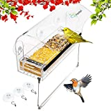 Bird Feeders for outside.Window Bird Feeders with strong suction cups,hanging perch for wild birds finch, Cardinal and Bluebird bird feeder. Removable seed and water tray.Bird house.Squirrel proof.