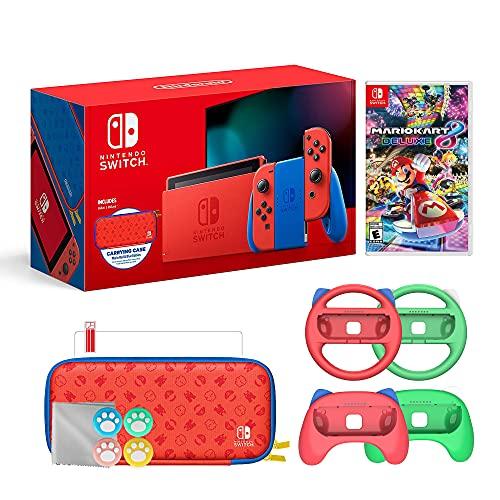 Nintendo 2021 Mudar Mario Red & Blue Limited Edition com Mario Kart 8, Mario Iconografia Carrying Case e protetor de tela Bundle com Mytrix Grips Set e Acessórios