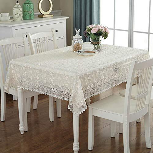 Couverture de table rectangulaire de nappe de dentelle blanche avec les motifs floraux élégants parfaits pour la décoration intérieure, les fêtes d'anniversaire, les réceptions de mariage, les tables