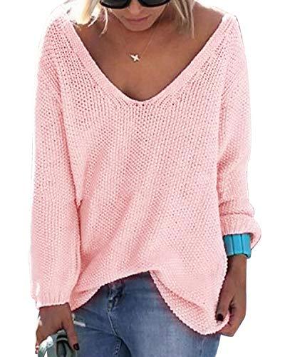 YOINS Strickpullover Damen Pullover Winter V Ausschnitt Sexy Oberteil Damen Oberteile Elegant Aktualisierung-rosa M