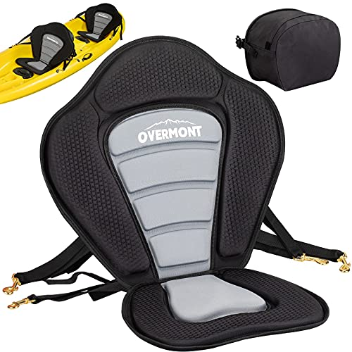 Overmont Universal Sit-On-Top Kayak Seat with Back Support Premium Foam Padded Adjustable Boat Seat for Kayaking Fishing SUP Paddleboard with Detachable Storage Bag