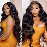 ISEE Hair 150% Density Brazilian Body Wave Lace Front Wigs Human Hair Glueless Lace Front Human Hair Wigs For Women Black Pre Plucked Unprocessed 8A Virgin Brazilian Hair Wig(22'' Natural Color)