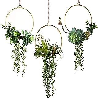 DILNAZ ART Artificial Flower Metal Garland Handmade Floral Hoop Wreath of Succulents and Eucalyptus 3-Piece Set for Weddin...