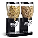 Small Dispenser Doppio Cornflakes Dosatore Distributore di Cereali Pasta dolcetti di Colore Nero Dimensioni: 33 x 42 cm capacità contenitori: 2 x 8 lt