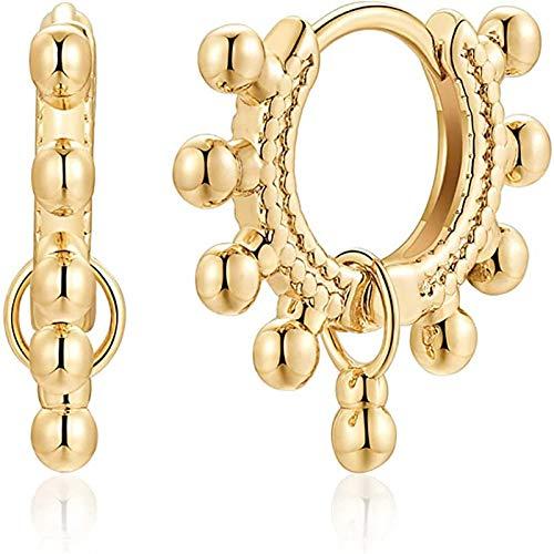 Pendientes de aro chapados en oro de 18 quilates con forma de gota para mujeres y niñas