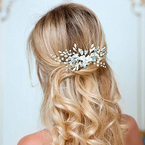 Unicra Silberhochzeit Blume Haarkämme handgemachte Braut Kopfschmuck Hochzeit Haarschmuck für Bräute