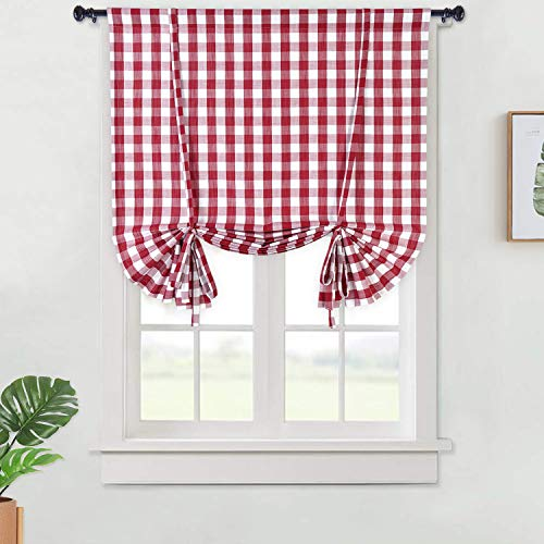 red and white window curtains - 5