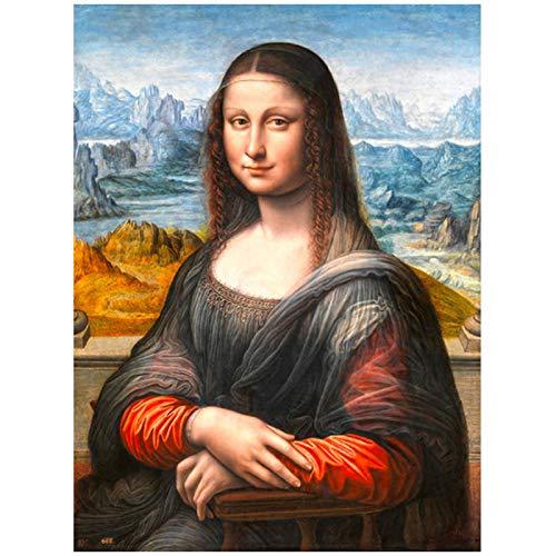 Mxibun Sonrisa De Mona Lisa Retrato Lienzo Arte De La Pared Da Vinci Famosas Reproducciones De Pinturas Impresiones Clásicas Decoración De Sala De Estar-24X36In Sin Marc