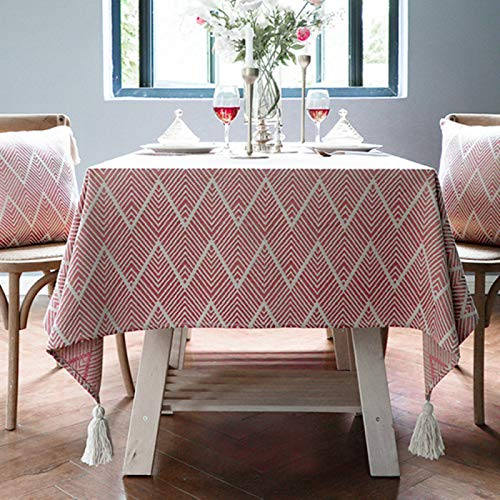 DJUX Home Decoration Tablecloth Dining Room Living Room Banquet Party Wave Pattern Cotton Thick Tassel Simple Table Cloth Nordic