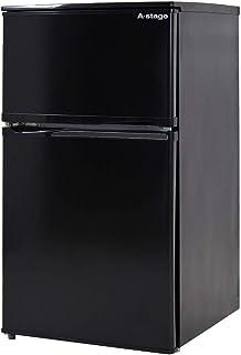 タンスのゲン 冷蔵庫 90L 【左右ドア開き対応】 小型 2ドア 冷凍庫 耐熱天板 省エネ 一人暮らし 1年保証 ブラック 43000061 02AM (70512)