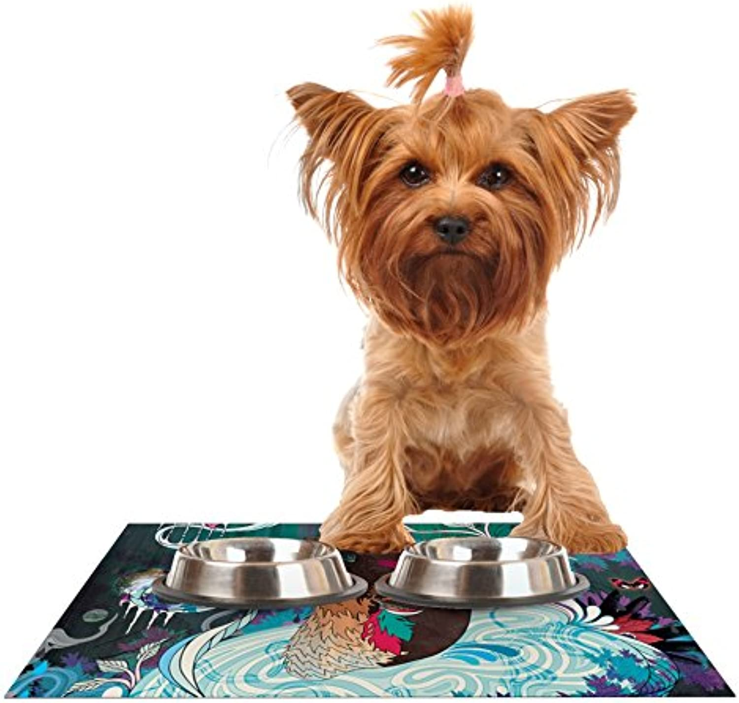 Kess InHouse Mat Miller Delicate Distraction  Otter Teal Feeding Mat for Pet Bowls, 24 by 15Inch