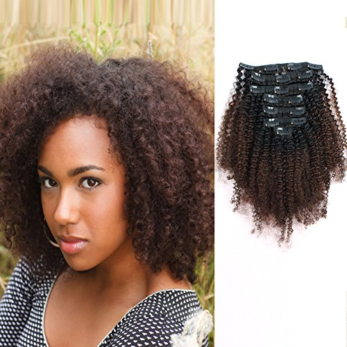 AmazingBeauty 8A Grade 3C 4A Big Afro Kinkys Curly Ombre Hair Extensions Double Weft Real Remy Human Hair for African American, Natural Black Fading into Chocolate Brown Two Tone Color TN-4, 20 Inch