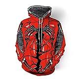 LMCK Nuevas Sudaderas para Hombres Red Gwen Spiderman Cosplay Disfraz 3D Impreso Sudadera con Capucha Camisa con Cremallera Deportiva Primavera Y Otoño,Red-L