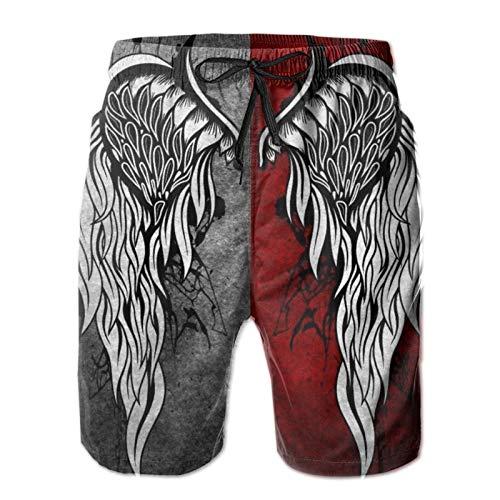 Harley Burton - Pantaloncini da bagno da uomo, con bandiera delle ali del diavolo, ad asciugatura rapida, da surf, con coulisse regolabile bianco XL