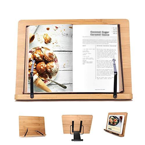 Bamboe Kookboek Houder van Kurtzy - 33.5 x 24cm Houder Standaard met 6 Aanpasbare Hoogtes Voor ipad/Tablet Perfect om Boeken mee te Lezen, Muziek Noten en Video's te Kijken.