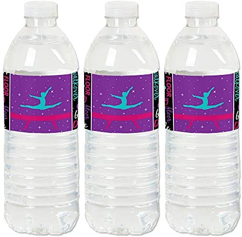 Tumble Flip Twirl Gymnastics Birthday Party or Gymnast Party Water Bottle Sticker Labels Set product image