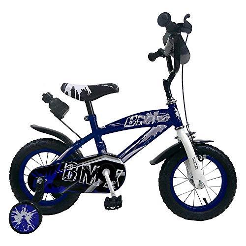 Bici Bimbo Bicicletta per Bambino 12' BMX con Rotelle Borraccia (Blu, 16')