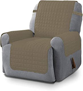 Linen Store Quilted Microfiber Pet Dog Couch Sofa Furniture Protector Cover with Tucks & Strap (Recliner, Mocha)