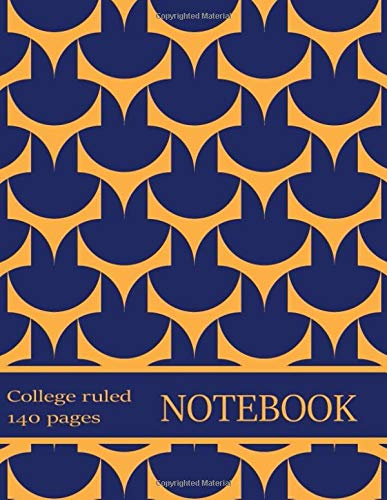 College-Ruled Notebook: Bold Geometric Indigo Orange Composition Book. Paper Pad Pack with Margins, Classes Schedule, Metric Conversion Chart. 140 Pages. 8.5x11 in (6)