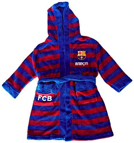 FC Barcelona Bata de Estar por Casa - FC Barcelona Batín con Capucha (Azul/Grana, 7 años)