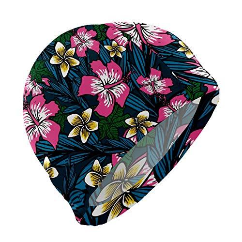 N\O - Gorro de natación para niños, diseño de flores polinesias