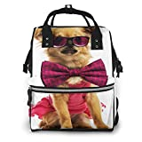 Mochila de Pañales para Cambiar Pañales Perro Chihuahua Cachorro Con, Gran Capacidad Bolsa de Momias a Prueba de Agua Elegante para Mamá Papá Viajar Con Un Bebé