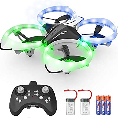 NXONE Drone for Kids and Beginners, Mini Drone with LED Lights, Altitude Hold, Headless Mode, 3D Flips, One Key Take Off/Landing and Extra Batteries, Kids Drone Toys for Boys and Girls (Gray)