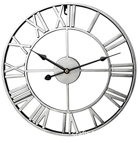 AZCX Horloges de Mur en métal Lourdes, faciles à accrocher Une Horloge métallique à Batterie silencieuse d'intérieur pour la Maison, Le Salon, la Cuisine et la tanière (Color : Silver)