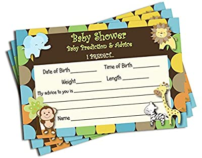 50 Baby Shower Advice & Prediction Cards for Mom King of Jungle Animal Themed Games (50-Cards) from All Ewired Up