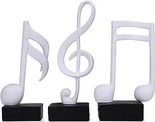 E-isata 3Pcs Musical Sculptures Music Note Figurine Statue Decorative Ornaments Art Decor for Living Room Bedroom TV Cabin...