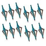 3Z Archery Paquete de 12 Tiro con Arco Puntas de Flecha Caza de 100 Grano Deportes al Aire Libre Práctica de Tiro Compuesto Arco y Ballesta (Azul)