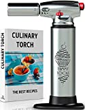 BEST CULINARY TORCH - Chef Torch for Cooking Crème Brulee - Aluminum Hand Butane Kitchen Torch - Blow Torch with...
