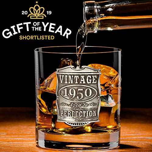 English Pewter Company Vintage Years 1950 70th Birthday or Anniversary Whisky Glass Tumbler - Unique...