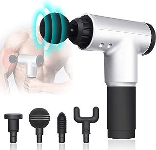Ypanda Muscle Massage Gun Cordless Rechargeable Deep Tissue Massage Body with 4 Massage Head (Silver)
