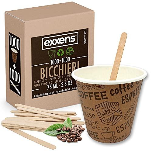 1000 Pz Bicchieri Caffe di Carta Biodegradabili Biocompostabili Tazzine 75ml + 1000 Pz Palettine Legno Betulla (Exxens Brown)
