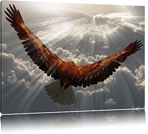 Adler über den Wolken Format: 120x80 auf Leinwand, XXL riesige Bilder fertig gerahmt mit Keilrahmen, Kunstdruck auf Wandbild mit Rahmen, günstiger als Gemälde oder Ölbild, kein Poster oder Plakat