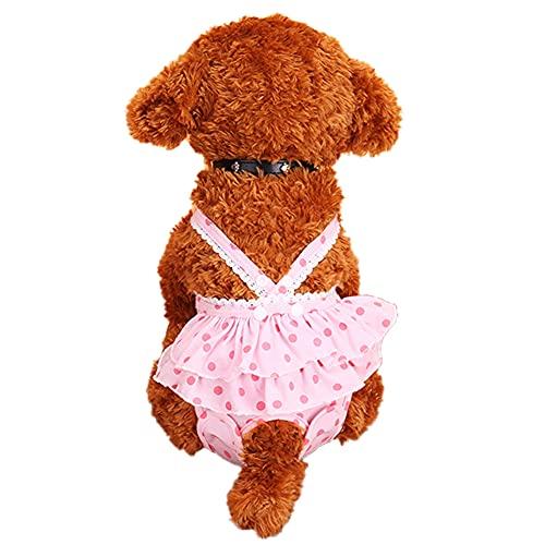 Shulishishop Pañales Perro Hembra Bragas Perras Celo Bragas de Perro para Temporada Reutilizable Perro pañales Perro pañales Mujer Gato pañales Medium,Pink