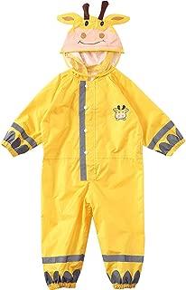 Kids One Piece Rain Suit Toddler Rainsuit with Hood Raincoat Infant Ponchos Rain Jacket Reflective Yellow S (3-5 Years)