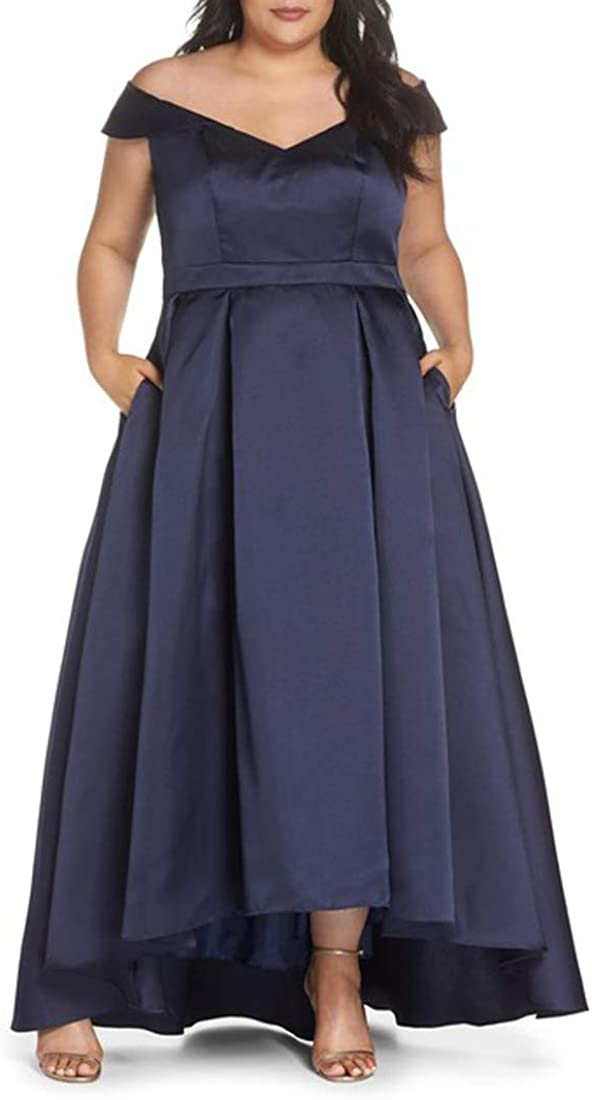 Xscape Off The Shoulder Mikado High/Low Gown, Navy, 16W