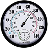 Indoor Outdoor Thermometer Wireless - Garden Wall Thermometer Hygrometer for Patio, Large Number Thermometer - No Battery Needed Hanging Decorative Hygrometer Round 10' in Diameter (Black)