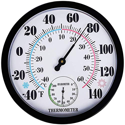 """Indoor Outdoor Thermometer Wireless - Garden Wall Thermometer Hygrometer for Patio, Large Number Thermometer - No Battery Needed Hanging Decorative Hygrometer Round 10"""" in Diameter (Black)"""