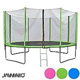 Jawinio Trampolin 366 cm (12F) Gartentrampolin Jumper Komplett-Set inkl. Leiter, Sicherheitsnetz und...