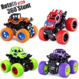 Monster Truck Toy Cars for Boys, 4 Pack Push Cars for Toddlers, 360