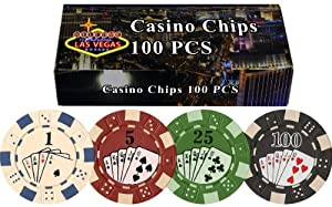 DA VINCI 100 11.5 Gram Poker Chips in Las Vegas Gift Box (Straight Flush) from Da Vinci Imports