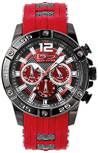 Daniel Steiger Men's Adventurer Sports Watch & Sunglasses Matching Set - Silicone Watch Strap - Quartz Chronograph Movement - Water Resistant - Gift Case Included (Red)