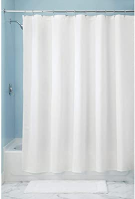 """mDesign STALL Sized Light Weight Waffle Weave Polyester Shower Curtain with Reinforced Buttonholes, for Showers and Bathtubs - Elegant Woven Geometric Diamond Pattern - 54"""" x 78"""" - White"""