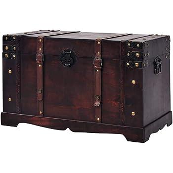vidaXL Baúl Vintage de Madera Arcón Cofre Cajón Caja Almacenaje Organizador: Amazon.es: Hogar