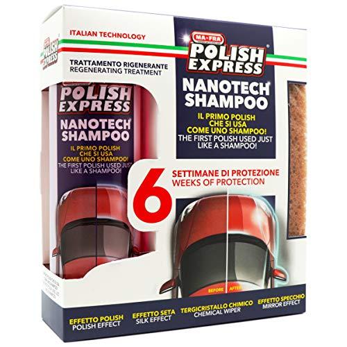 Mafra, Kit Polish Express, Shampoo per Auto, con Formula Nanotech, Dona Lucentezza e Protezione Fino a 6 Settimane, Formato 250ml + Spugna in Omaggio