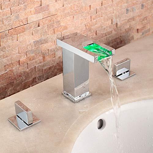 Wasserhahn für Waschbecken Bad LED Wasserfall Chrom Badewanne Kalt-warm Wasser DREI-Loch mit Doppelgriff Badezimmer Waschtisch Armatur,ChromeHighFaucet